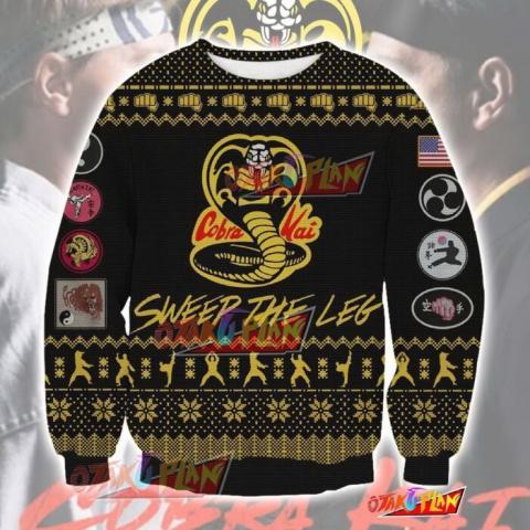 TKKTK0820 The Karate Kid Cobra Kai Knitting Pattern 3D Print Ugly Christmas Sweatshirt