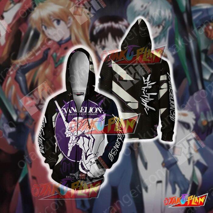 Shin Seiki Evangelion Eva 01 Zip Up Hoodie Jacket Sweatshirt Cosplay Costumes