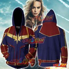 Captain Marvel Cosplay New Look Zip Up Hoodie Jacket