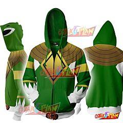 Power Rangers Green Zip Up Hoodie Jacket