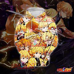 Demon Slayer Kimetsu no Yaiba Agatsuma Zenitsu Golden Emoticon Hoodie