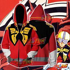 Char Aznable Cosplay Gundam Zip Up Hoodie Jacket