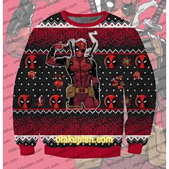 Deadpool Faux 3D Print Ugly Christmas Sweatshirt