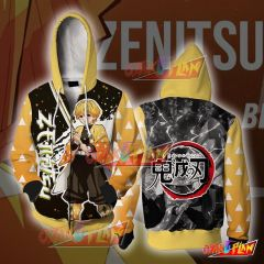 Demon Slayer Kimetsu No Yaiba Agatsuma Zenitsu Zip Up Hoodie