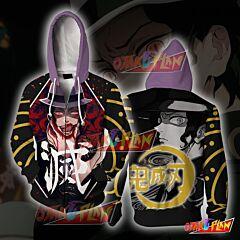 Demon Slayer Kimetsu No Yaiba Muzan Kibutsuji Black Zip Up Hoodie