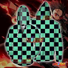 Demon Slayer Kamado Tanjirou Cosplay Zip Up Hoodie