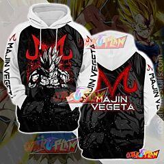 Dragon Ball Majin Vegeta Black And White Pullover Hoodie