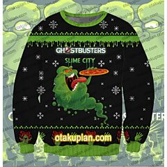 Ghostbusters Clipart Green Ghost 3D Print Ugly Christmas Sweatshirt