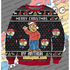 Happy Holidays Arthur 3D Print Ugly Christmas Sweatshirt