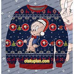 Looney Tunes Porky Pig 3D Print Ugly Christmas Sweatshirt