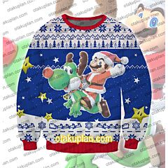 Super Mario Christmas Odyssey 3D Print Ugly Christmas Sweatshirt