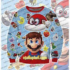Super Mario Odyssey Christmas hat 3D Print Ugly Christmas Sweatshirt